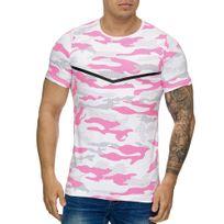 Cabin - T-shirt homme camouflage T-shirt 3178 rose et Blanc