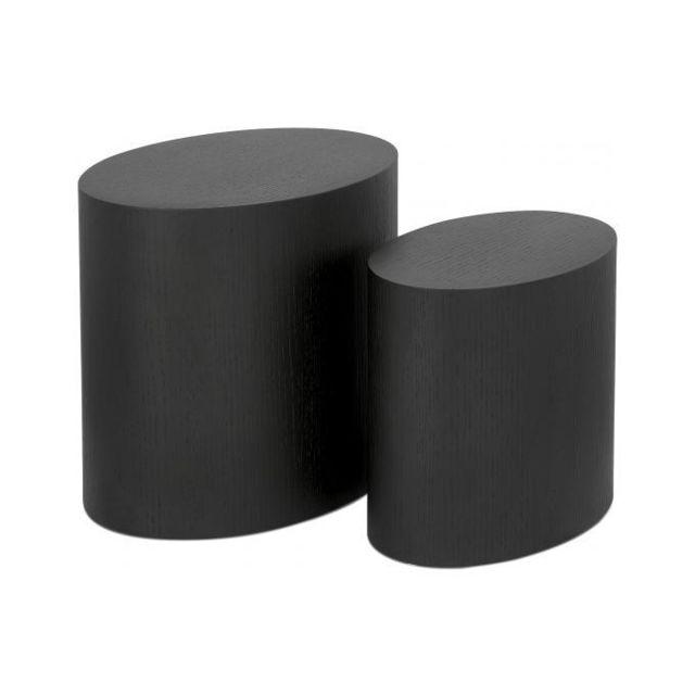 Declikdeco Lot de 2 Tables Basses Ovales Noires Pouffy