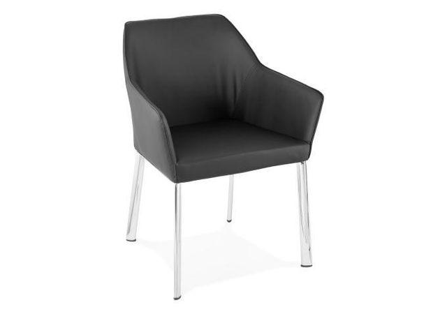 Kokoon Design Chaise En imitation cuir Noir Gordon