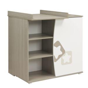 Galipette commode 1 porte plan langer blanc fr ne gris avec motifs toiles noe pas cher - Commode table a langer pas cher ...