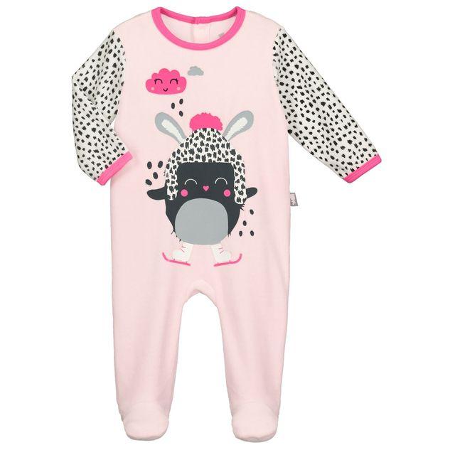 Petit Beguin - Pyjama bébé velours rose Bulle de Coton - Couleur - Rose, Longueur des manches - Manches longues, Taille - 12 mois 80 cm Multicolore