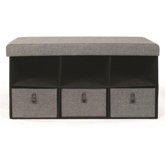 Pegane Banc pliable avec rangements coloris gris foncé - Dim : 38 x 38 x 76 cm