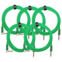 Pronomic - 5x Set Trendline Inst-3NG câble à instrument 3m vert