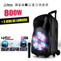 """Party Sound - Enceinte sono mobile amplifiée 800W 15"""" Led/USB/BT/SD/FM + Micro + 3 jeux de lumière LytOr"""