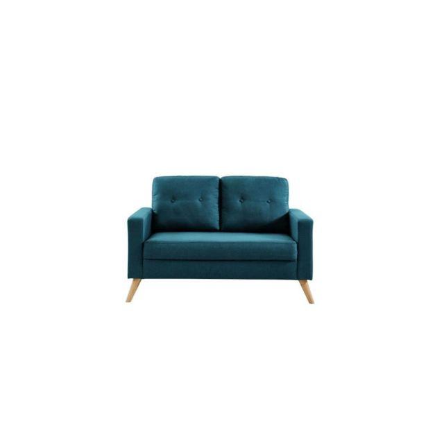 Sans Marque Ibra Canape Droit 2 Places - Tissu Bleu - Scandinave - L 130 X P 83 Cm