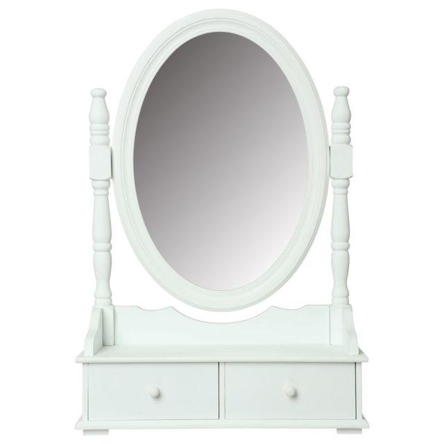 Atmosphera Coiffeuse Range Bijoux Avec Tiroirs Et Miroir 50 X 75 Cm Blanc Pas Cher Achat Vente Coiffeuse Rueducommerce