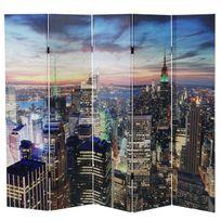 Mendler - Paravent / séparation Led, motif New York, programmable, alimenté par réseau ~ 180x200cm