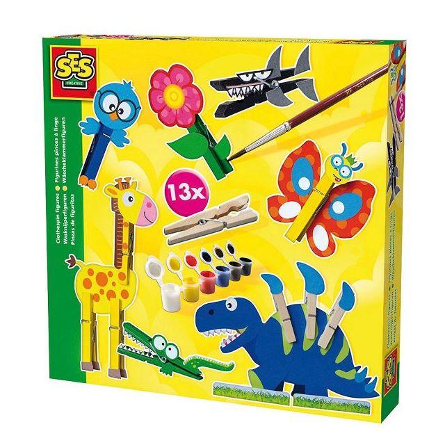 SES CREATIVE - Kit créatif Drôles d'animaux : Figurines pince à linge