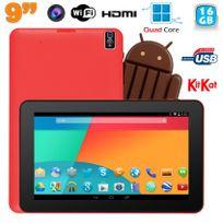 Yonis - Tablette tactile 9 pouces Android 4.4 Bluetooth Quad Core 16Go Rouge