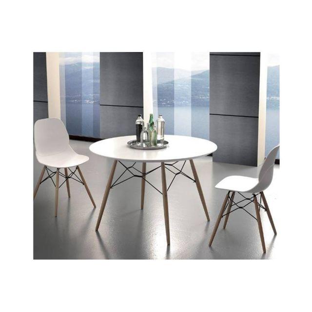 Inside 75 Table de repas Schell 100 cm mélaminé blanc satiné pied hêtre naturel