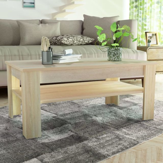 Vidaxl Table Basse en Aggloméré 110x65x48 cm Chêne Table de Thé Table de Salon