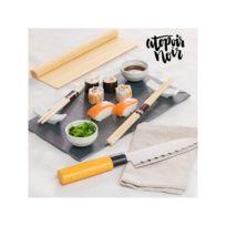 Atopoir Noir - Ensemble pour Sushi avec Plateau en Ardoise 9 Pièces