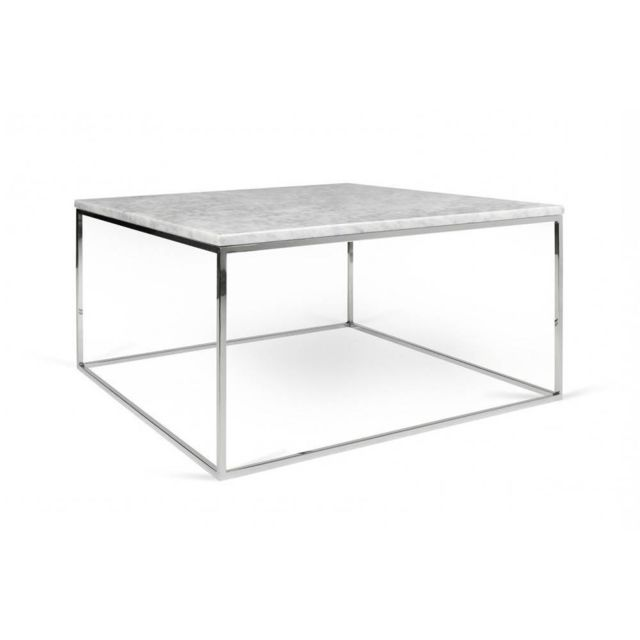 Inside 75 Tema Home Table basse rectangulaire Gleam 75 plateau en marbre blanc structure chromée