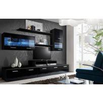 Asm-mdlt - Ensemble meuble Tv Loga noir de haute brillance avec Led