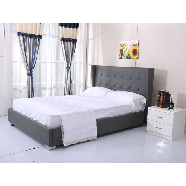 habitat et jardin lit steven 140 x 190 cm gris 90cm x 190cm pas cher achat vente lit. Black Bedroom Furniture Sets. Home Design Ideas