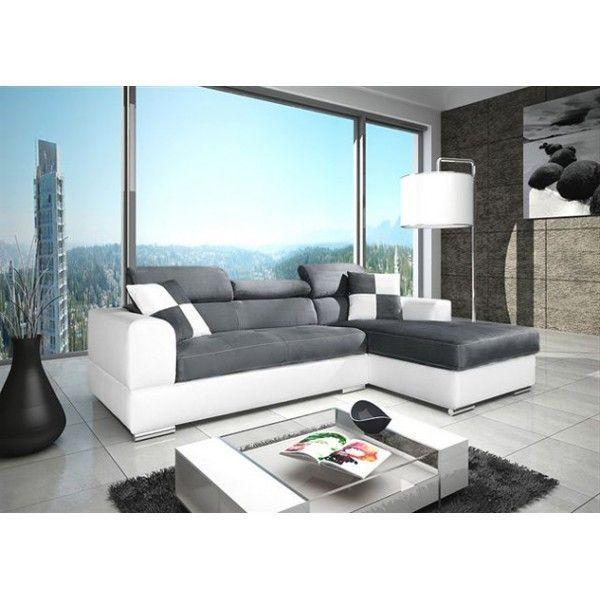 MEUBLESLINE Canapé d'angle 4 places NETO design gris et blanc simili cuir tissu