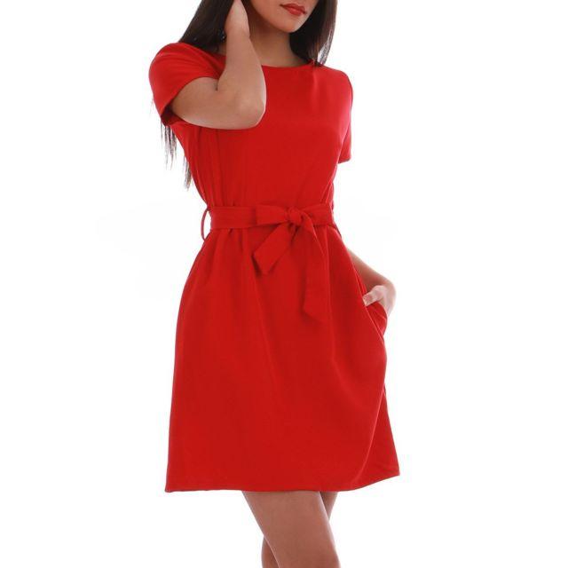 f0944c1acb1 Lamodeuse - Robe manches courtes rouge avec ceinture L - pas cher ...