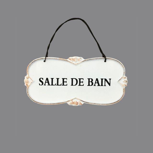 Plaque De Porte En Fer Salle De Bain Murale Blanc Creme 12cm