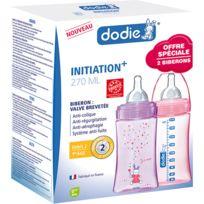 DODIE - Coffret de 2 biberons sans bpa initiation+ fille 270 ml