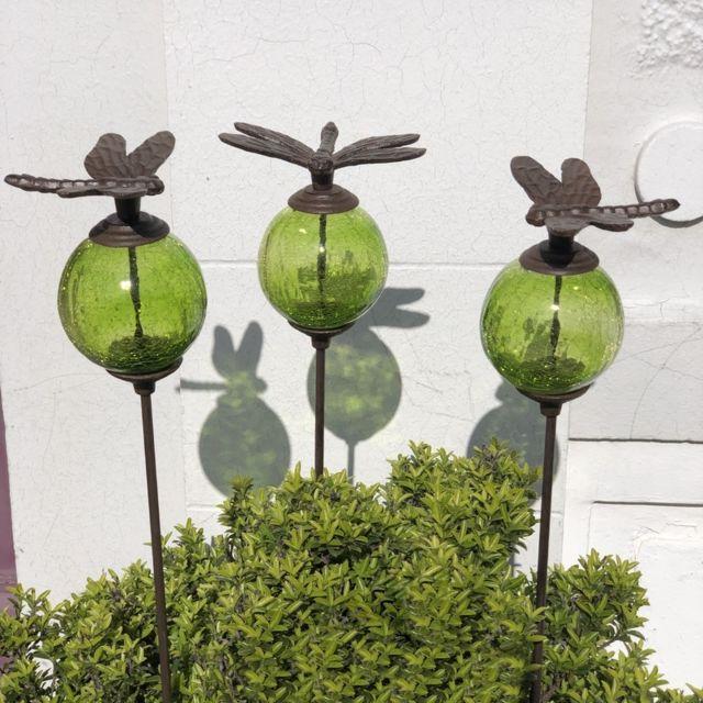 L'ORIGINALE Deco 3 Pics Tige Tuteurs Porte Plante de Jardin Vert Libellule Marron 117 cm