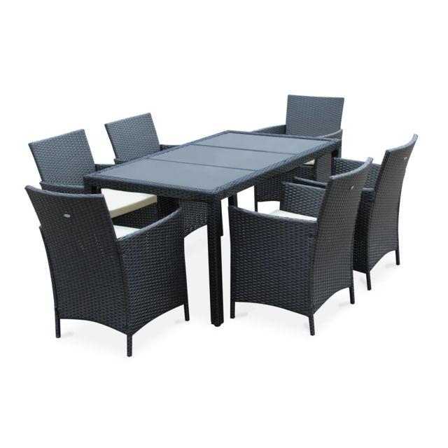 Salon de jardin 6 places - Tavola 6 Noir - Résine tressée, table 150cm,  coussins écru, 6 fauteuils