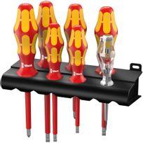 Wera Tools - 160 i/7 Rack Jeu de tournevis Kraftform Plus Série 100 + détecteur de tension + Rack, 7 pièces - 05006147001