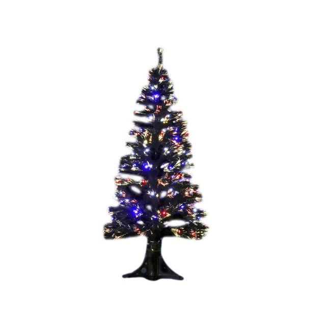 2d88dcef708 JARDIDECO - Sapin de Noël artificiel fibre optique noir 120 cm - pas ...