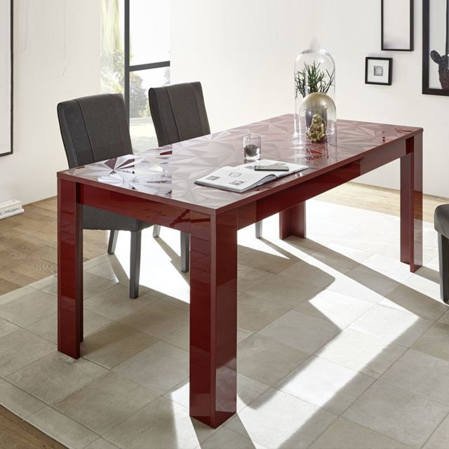 Sofamobili Table 180 cm design rouge laqué Antonio 2