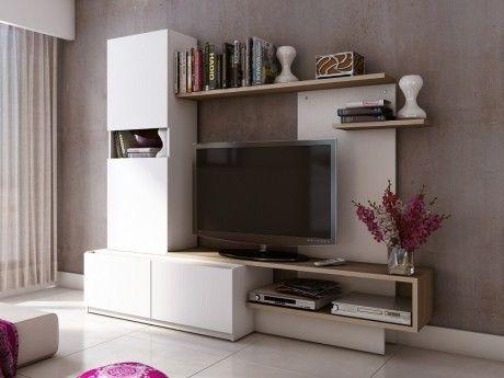 Mur TV RODRIGO avec rangements - Bois & MDF - Blanc et chêne