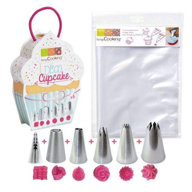 Scrapcooking 6 douilles et 6 poches à douilles jetables pour Cupcakes