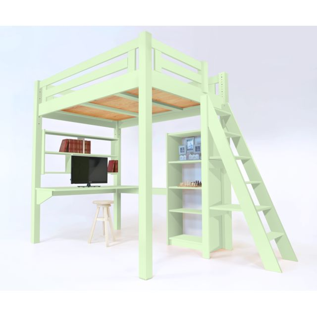 abc meubles lit mezzanine alpage bois chelle hauteur r glable vert pastel 120cm x 200cm. Black Bedroom Furniture Sets. Home Design Ideas