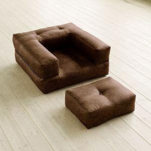 Inside Fauteuil Cube En Futon Aspect Cuir Vintage Chocolat - Fauteuil cuir vintage pas cher