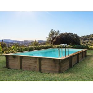 Habitat et jardin piscine bois en kit rectangle tampa for Kit piscine semi enterree pas cher