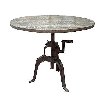 Table ronde rehaussable avec manivelle en manguier et métal