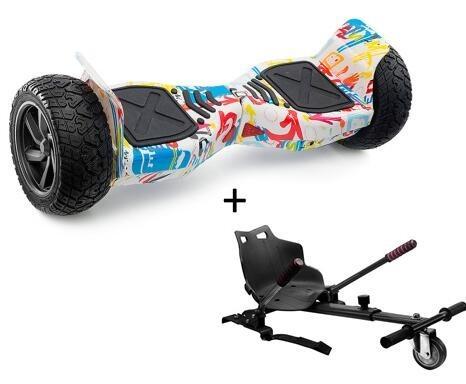 "Pack Hoverboard 8,5"" Hummer Graffiti Blanc+ Hoverkart Noir avec bluetooth sac et télécommande"