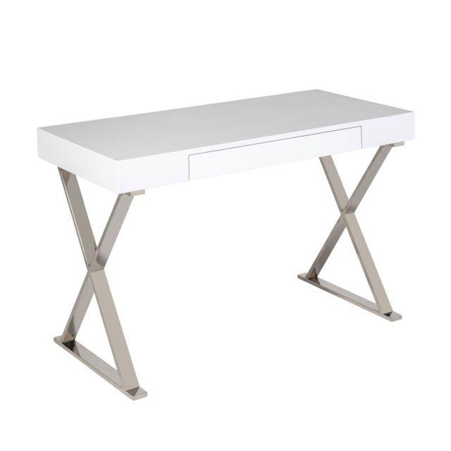 Tousmesmeubles Bureau 1 tiroir Blanc laqué/Chrome - Pasco