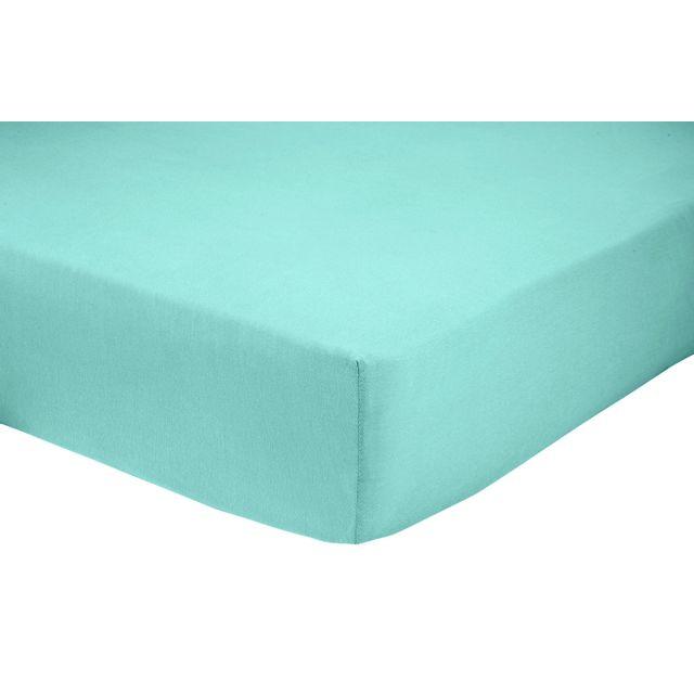 marque generique drap housse en polycoton bleu 160cm x 200cm pas cher achat vente draps. Black Bedroom Furniture Sets. Home Design Ideas