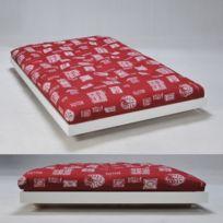 No Name - Lit Loft 140x200 cm + sommier + Matelas futon rouge / Blanc