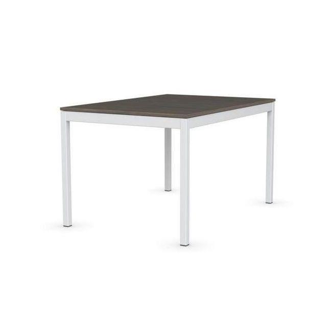 Inside 75 Table extensible Snap deco nougat piétement laqué blanc 130x90 cm