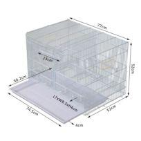 PAWHUT - Volière cage à oiseaux avec mangeoires perchoirs 77 x 52 x 52 cm blanche 28