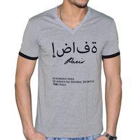 Hechbone Paris - Hechbone - T Shirt Manches Courtes - Col V - Homme - Sana'a - Gris