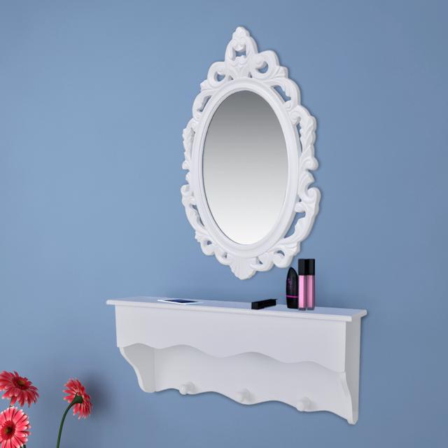 Vidaxl Ensemble étagère Murale Avec Miroir Et Crochets Pour Clés