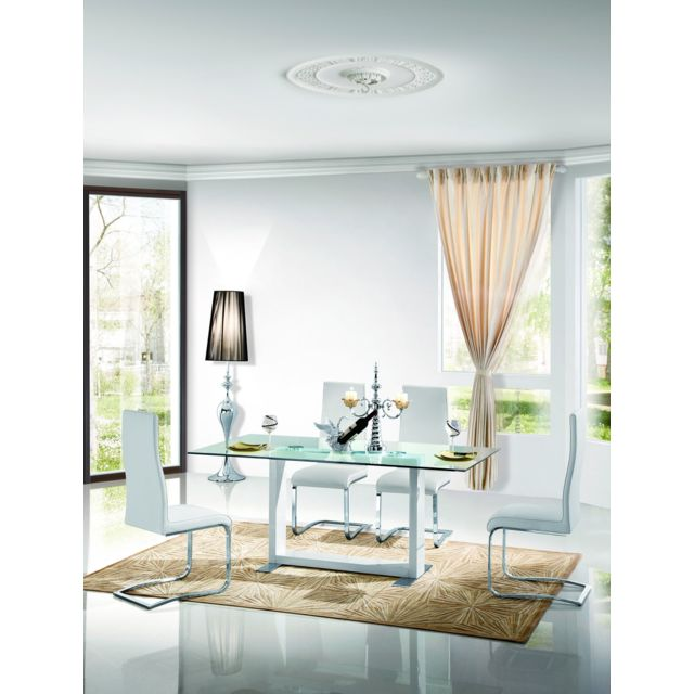La Maison Du CanapÉ Table à manger verre Quadro - Transparent - Blanc
