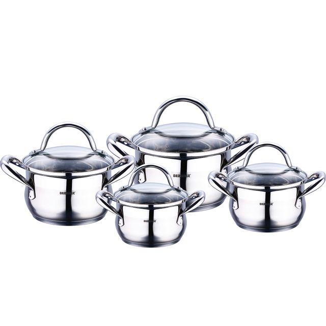Bergner gourmet - sets de poêles et casseroles acier inoxydable avec couvercle bon pour linduction