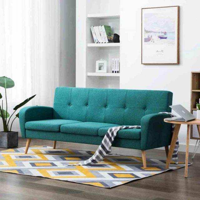 Contemporain Meubles collection Bridgetown Canapé à 3 places Tissu Vert