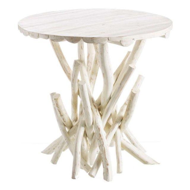 Ma Maison Mes Tendances Table ronde 80 cm en bois blanc Sirine - L 80 x l 80 x H 75