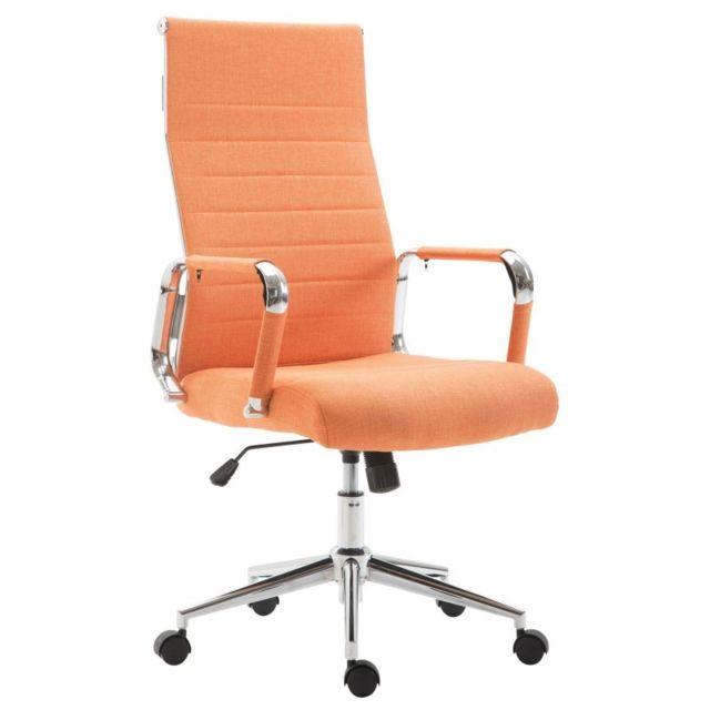 Decoshop26 Fauteuil de bureau en tissu orange avec assise rembourrée pivotant Bur10238
