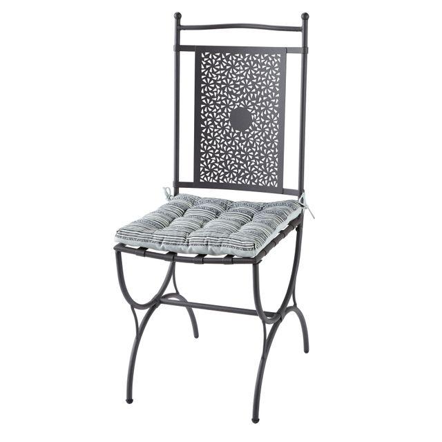rue du commerce chaise mtal maroc avec coussin rversible gris anthracite - Chaise Metal