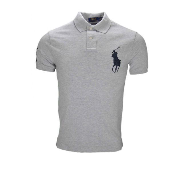 Ralph Lauren - Polo gris Big Poney bleu marine pour homme - pas cher Achat    Vente Polo homme - RueDuCommerce 0bb864851d6c