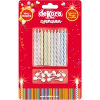 Dekora - Lot de 10 bougies Magiques - 4 Couleurs